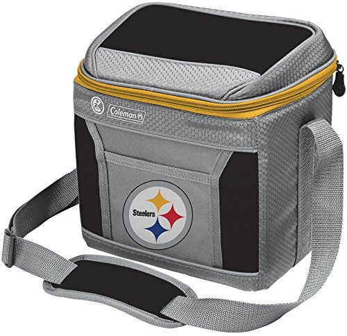 Coleman NFL Soft-Sided Insulated Cooler and Lunch Box Bag, 9-Can Capacity, Pittsburgh Steelers