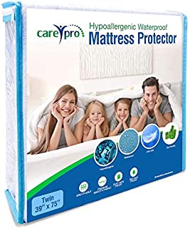 Care Pro Hypoallergenic Mattress Protector Smooth Breathable Fitted Fabric Style 100% Waterproof Dust Mite and Bed Bug Proof (Twin)
