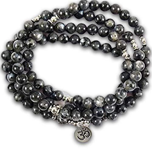Armband mit 108 Perlen aus natürlichem grauem Labradorit - Symbol