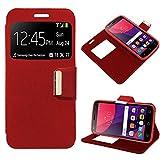 iGlobalmarket Alcatel Pixi 4 (5) 3G, Funda con Tapa, Apertura Lateral Tipo Libro, Cuero PU, Color Rojo