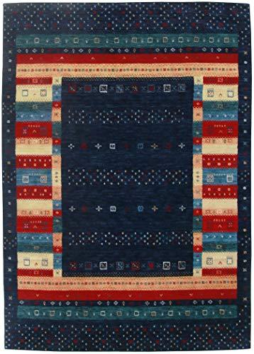 Moderner Gabbeh Teppich | Nachhaltig handgefertigt aus 100% Schurwolle mit Wollsiegel und Rugmark | 70 x 140 cm; Farbe: dunkel blau| THEKO die markenteppiche - Lori Dream