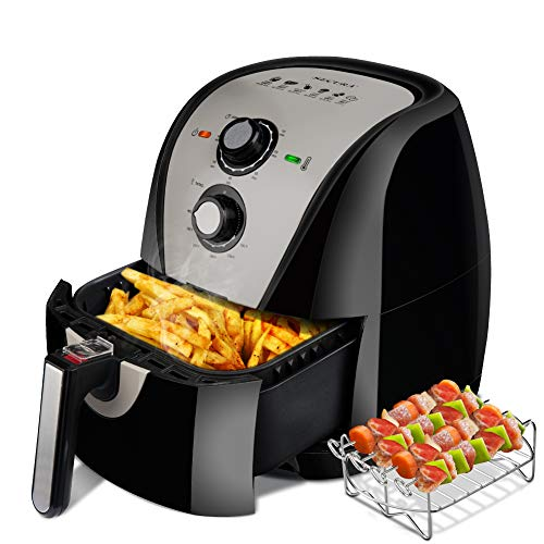 Secura Air Fryer XL 5.3 Quart 1700-Watt Electric Hot Air Fryers Oven Oil Free Nonstick Cooker w/Additional Accessories, Recipes, BBQ Rack & Skewers for Frying, Roasting, Grilling, Baking (Gray)