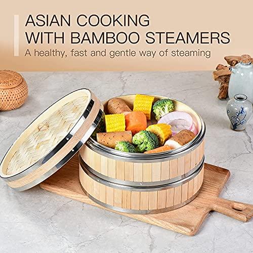 DODY Cesta de vaporizador de bambú de 10 Pulgadas, vaporizador de Alimentos Premium 2 Niveles con Tapa - Vapor de bambú Natural Hecho a Mano, para cocinar/Verduras/albóndigas/Huevos
