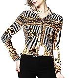 DOVWOER Damen Elegant Bluse mit Blumenmustern & Barock Print Langarm Button-Down Stehkragen Hemd Casual Tops, Mehrfarbig-4, 38