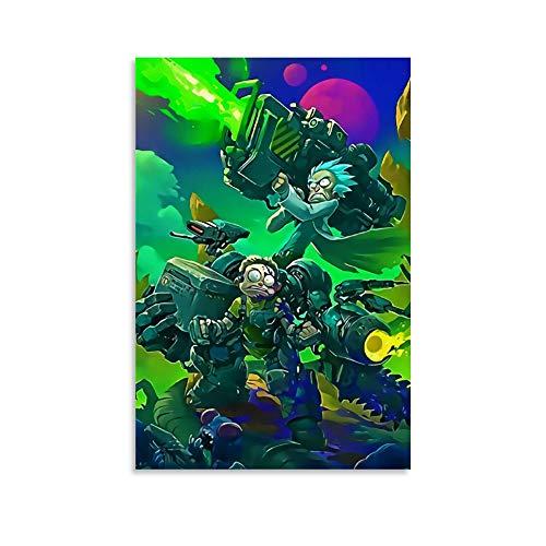 DRAGON VINES Póster de la batalla de Rick y Morty Mech con dibujos animados de animación, impresión de arte estándar, lienzo para pared, 40 x 60 cm