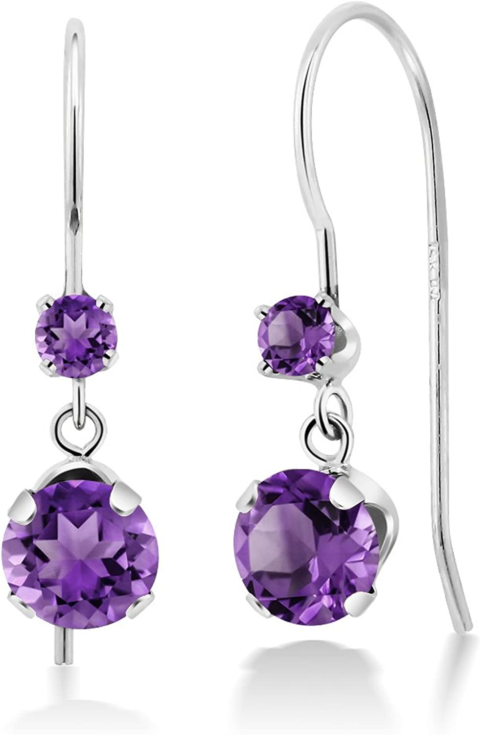 1.02 Ct Round Purple Amethyst 14K White gold Earrings