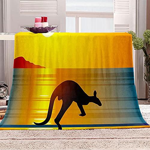 Mantas para Sofa De Franela 3D Canguro Puesta de Sol sobre el mar Manta con Estampados para niños Adultos Manta de Microfibra Suave cálida para Cama sofá y Viaje 100x130cm