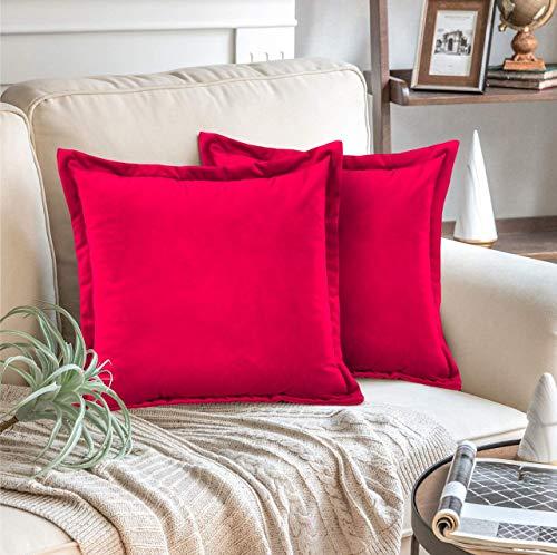 Adam Home Fundas de cojín de terciopelo con cremallera invisible, 45 x 45 cm, fundas de almohada decorativas para sofá, dormitorio, sofá, oficina (2 unidades), color rojo
