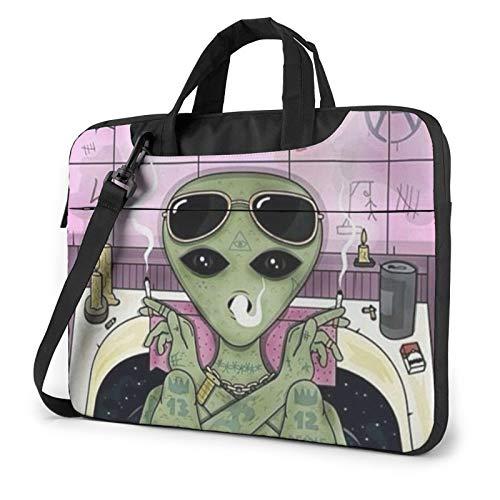 Alien Smoke Laptop Shoulder Bag Waterproof Messenger Bag Carrying Briefcase Sleeve Case 15.6 Inch
