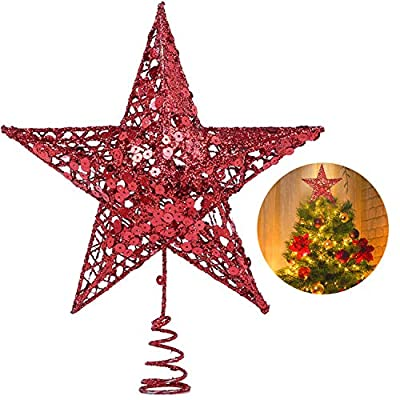 Red 10 inch Christmas Tree Star Topper