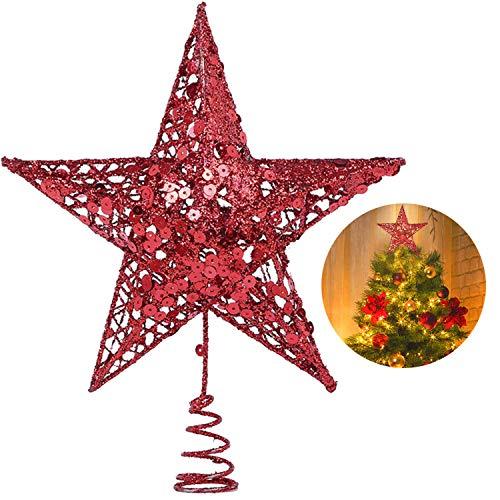 YQing 10 Pollici Puntale Albero Natale Glitterato Stella Albero di Natale, Stella per Albero di Natale per Albero di Natale Decorazione per la Casa, Rossa