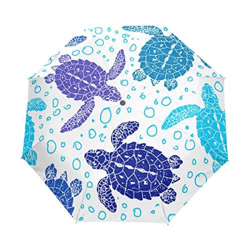 SUHETI Regenschirm Taschenschirm,Nahtlose Vektormuster Schildkröten Silhouette Tier,Auf Zu Automatik,windsicher,stabil
