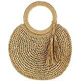 Bolsa de paja con cadena, bolsa de tela envuelta, cubo con flecos y borla, bolso redondo de tela de ratán, bolso de mano a la moda para la playa