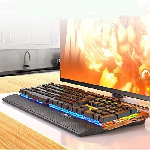 SWNN Auriculares Juegos Mecánicos De Teclado Y Ratón Combo con PC Gaming Headset, Multicolor con Retroiluminación LED USB con Cable con El Interruptor Azul, Resto De La Mano