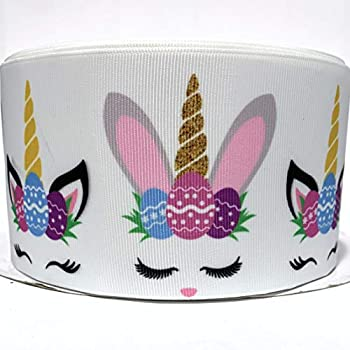 Grosgrain Ribbon 3  Easter Unicorn Egg Spring for Gifts,Floral Arranging Hairbows Scrap Booking White Pink,Blue,Yellow,Green Black Purple Printed - Per Yard