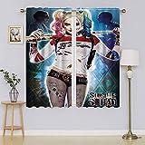 Harley Quinn – Suicide Squad Panel de ventana, cortinas aisladas térmicamente para oscurecimiento de la habitación, cortina de ahorro energético, para dormitorio/sala de estar 42 x 63 pulgadas