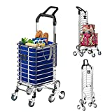 JIUYOTREE Foldable Shopping Trolley, Groceries Shopping Cart With Stair Climbing Wheels,Brake Wheels and Removable Bags, Blue