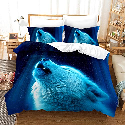 Funda nórdica de edredón 220x240cm Lobo Azul Luminoso con Cierre de Cremallera 3 Piezas de Ropa de Cama Microfibra Suave hipoalergénica con 2 Fundas de Almohada 50x75cm