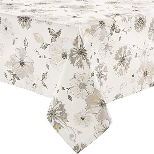 Erwin Müller Tischdecke, Tischwäsche Blumen Blume Größe 130x170 cm - robuste Qualität, mit hochwertigem Kuvertsaum und Fleckschutz ausgerüstet, 100% Baumwolle
