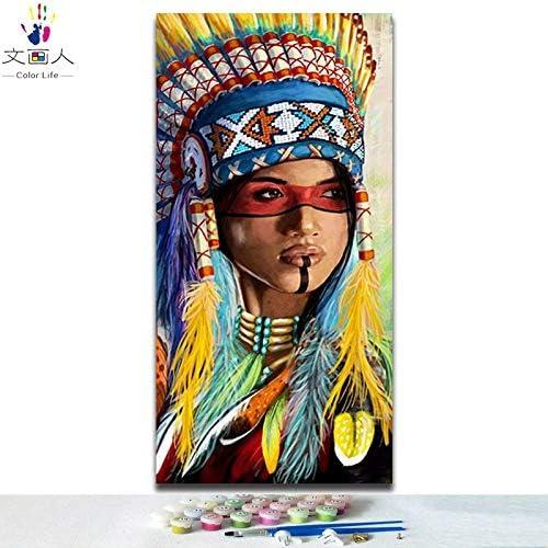 KYKDY DIY Farben zum maßen nach Zahlen Traditionelle klassische Indianer Figuren Bilder F ungen Gem e nach Zahlen für Zimmerwanddekor, 8777 Inderin 5,40x80 kein Rahmen