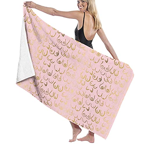 asdew987 Toalla de playa grande teta tela teta impresión 3D suave toallas de viaje deportes toalla de baño para dormitorio natación piscina yoga 80 x 130 cm