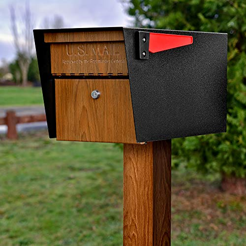 Mail Boss Curbside 7510 Mail Manager Locking Security Mailbox, Black with Wood Grain Powder Coat