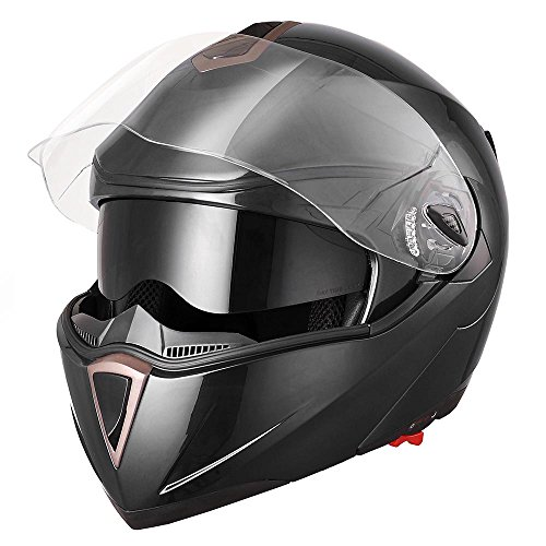 AHR Full Face Flip up Modular Motorcycle Helmet DOT Approved Dual Visor Motocross Black XL