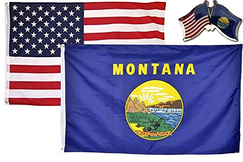 MWS Wholesale Combo USA & State of Montana 2x3 2'x3' Flag & Lapel Pin