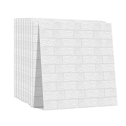 3D壁紙レンガ 【YYT】 立体壁紙 クッションレンガ 自己粘着 防水 防音 断熱 無毒 はがせる 壁用 ホワイト 70cm*77cm*0.3cm 10枚セット