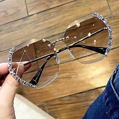 niawmwdt Mode Vintage Square Strass Sonnenbrillen Für Frauen Trendy Luxus Design Diamantschliff Kristall Gradient Sonnenbrille-Tan2