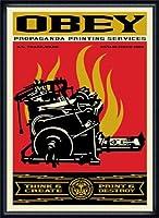 ポスター オベイ Print and Destroy/Shepard Fairey 手書きサイン入り 額装品 ウッドハイグレードフレーム(ネイビー)