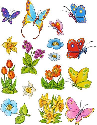 alles-meine.de GmbH 16 TLG. Set: Fensterbilder - Schmetterlinge & Blumen - statisch haftend - Sticker Fenstersticker / z.B. für Fenster und Spiegel - Aufkleber selbstklebend wied..