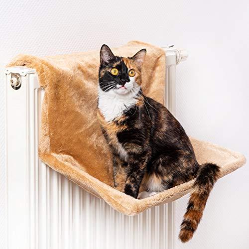 CanadianCat Company ® | Liegemulde für Katzen in beige ca. 45x26x31 cm Katzen Heizungs-Liege L