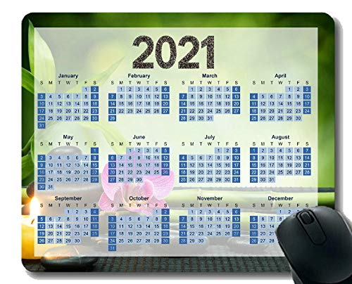 Calendar 2021 Non-Slip Rubber Gaming Mouse Pad,Zen Flower Candle Still Life Gaming Mouse Mat