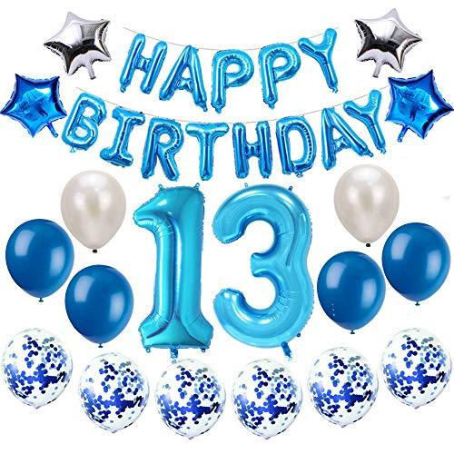Oumezon 13 Geburtstag Dekoration Blau, 13 Geburtstag deko für Mädchen Jungen Happy Birthday Girlande Banner Folienballon Konfetti Luftballons Deko Geburtstag Party Anzahl Ballons