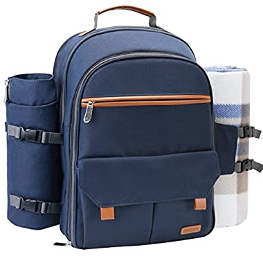 Sunflora Picnic Backpack For 4 Person Set With Insulated Waterproof Pouch For Family Outdoor Camping (Navy Blue)