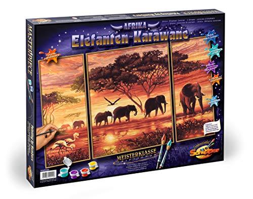 Schipper 609260455 - Malen nach Zahlen - Elefantenkarawane - Bilder malen für Erwachsene, inklusive Pinsel und Acrylfarben, Triptychon 50 x 80 cm