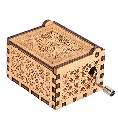 Yinuoday Hand Crank Music Box, You are My Sunshine Vintage Classic Wooden Music Box Upgraded Carved Musical Boxes Case for Girls Boys Kids Friends Gift