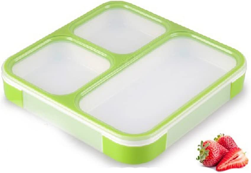 3-compartment Lunch Bento Box Container Leakproof Dishwasher Mic