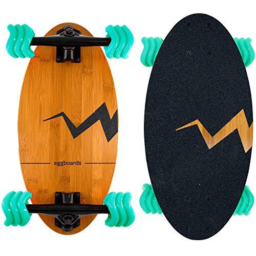 Eggboards Shark Wheels Longboard Bamboo - Kleines Bambus Skateboard Mini Cruiser mit Longboard Trucks und Shark Wheel