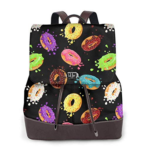 Women'S Leather Backpack,Donut Print Women'S Leather Backpack