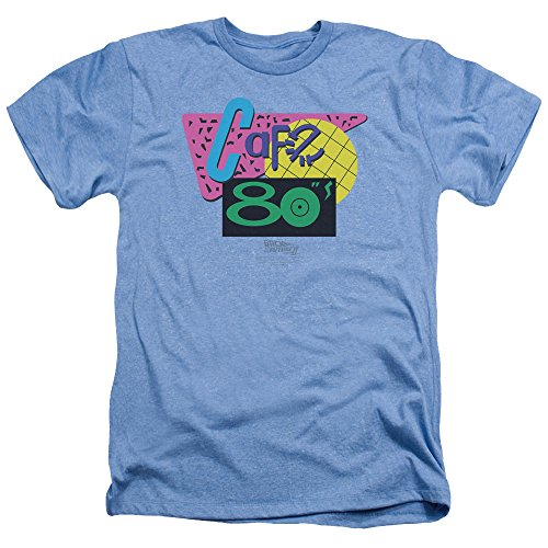 Back to The Future 2 Cafe 80S Unisex Adult T-shirt, Light Blue