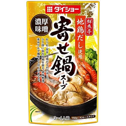 ダイショー 鮮魚亭 地鶏だし使用寄せ鍋スープ 濃厚味噌 750g×10袋入