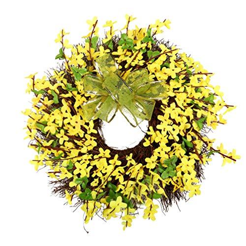 Amosfun Kunstblume Kranz Winter Jasmin Bogen gebunden Girlande Frühling gelbe Blume Tür Kranz für Haustür Hochzeit Wohnkultur 40cm