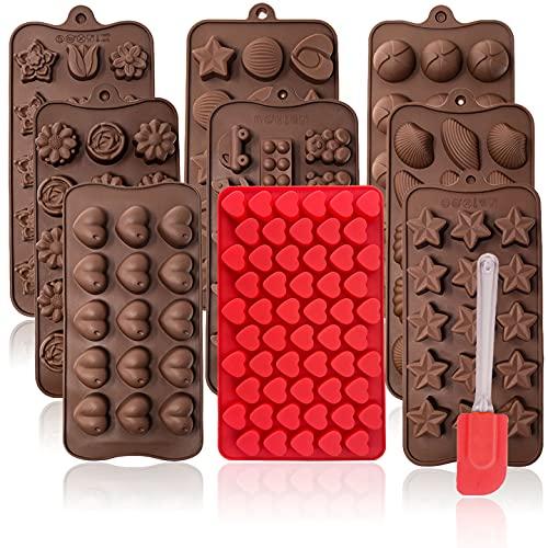 mixed24 10er Set Silikon Backform Schaber Pralinenform Schokoladenform