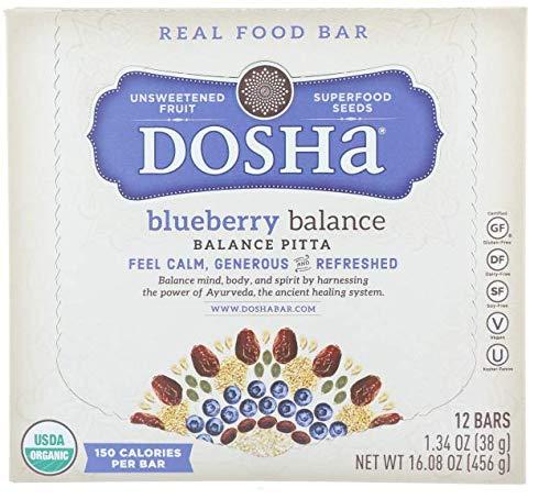 Dosha Bars, Blueberry Balance, Organic Gluten Free Dairy Free Soy Free Paleo Vegan, 1.34 Ounce Bars, 12 Count
