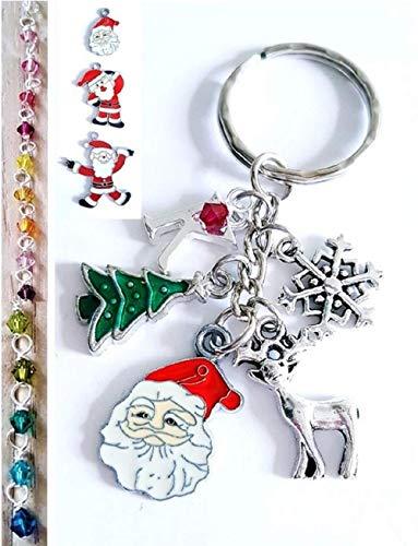 Christmas Santa's Head Reindeer Tree Snowflake Keyring Bag Charm
