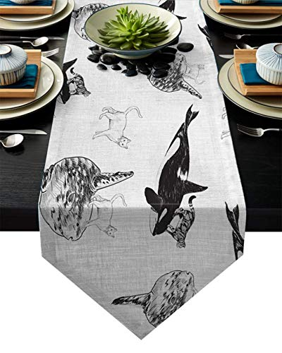 AngelSept Dining Room Kitchen Rectangular Runner 18x72 Inch Doodle Image of Cool Cats Riding Sharks Kitchen Table Runners for Farmhouse Dinner