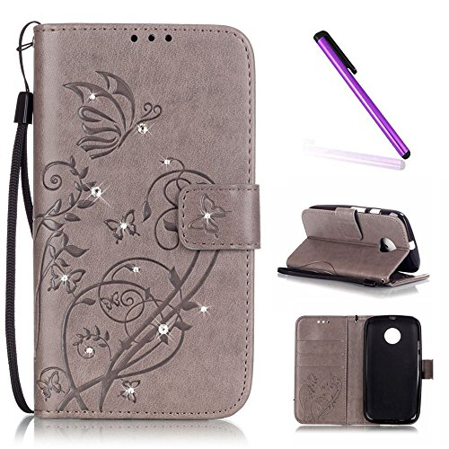 Moto E (2nd Gen) Case, ISADENSER Butterfly Embossed PU Leather Case Bling Glitter Magnet Closure Flip Wallet Stand Case with Card Slots for Motorola Moto E2 (2nd Generation 2015) Diamonds Gray