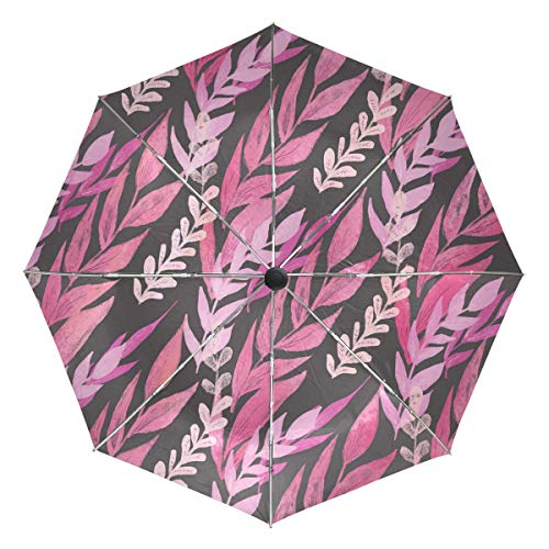 Mr.Lucien Colorful Branches and Leaves Vine Pattern Compact Umbrella, Watercolor Plant Painting Automatic Folding Travel Umbrella, Windproof Auto Open/Close for One Handed Operation 2020648